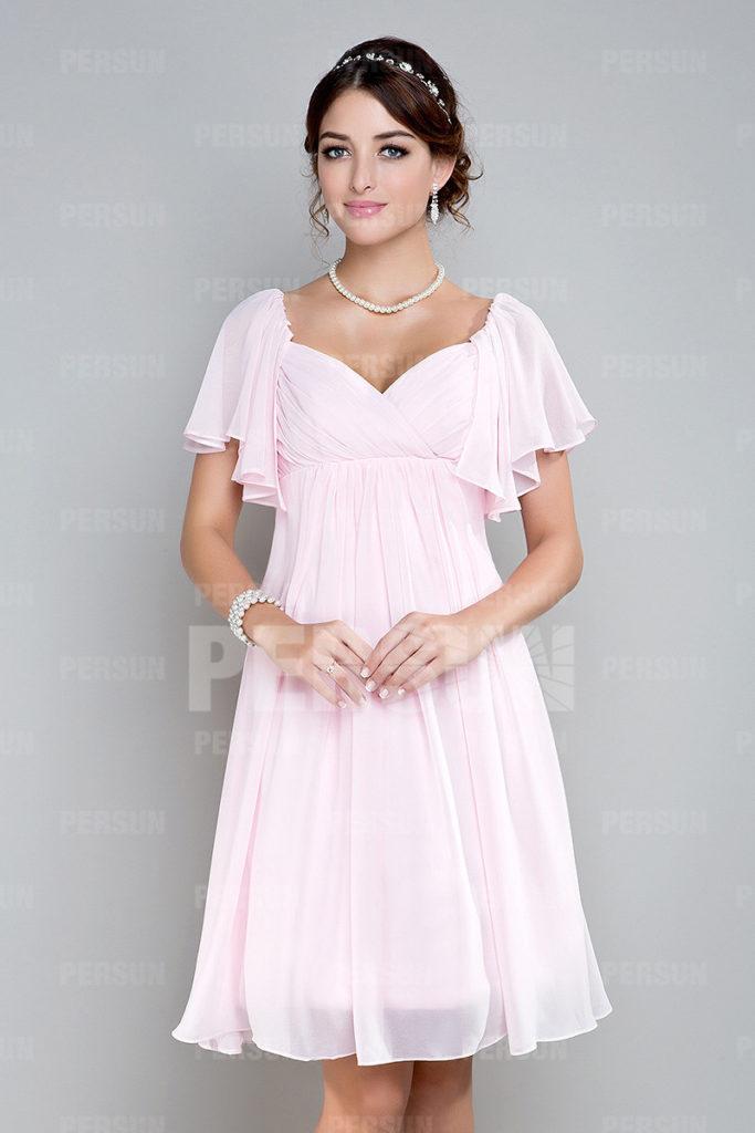 robe de cocktail courte rose bustier coeur plissé avec manches courtes à volant