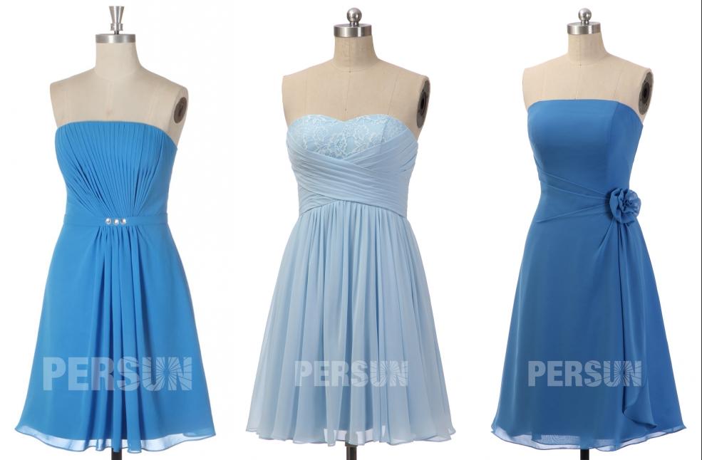 robe de cocktail bleue courte populaire sur persun