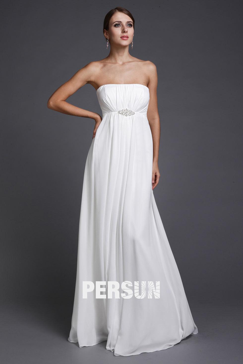 robe de soirée longue blanche empire bustier droit plissé taille ornée de strass
