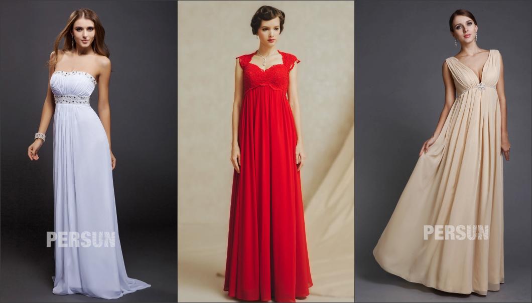 robe de soirée longue empire en créations et couleurs différentes