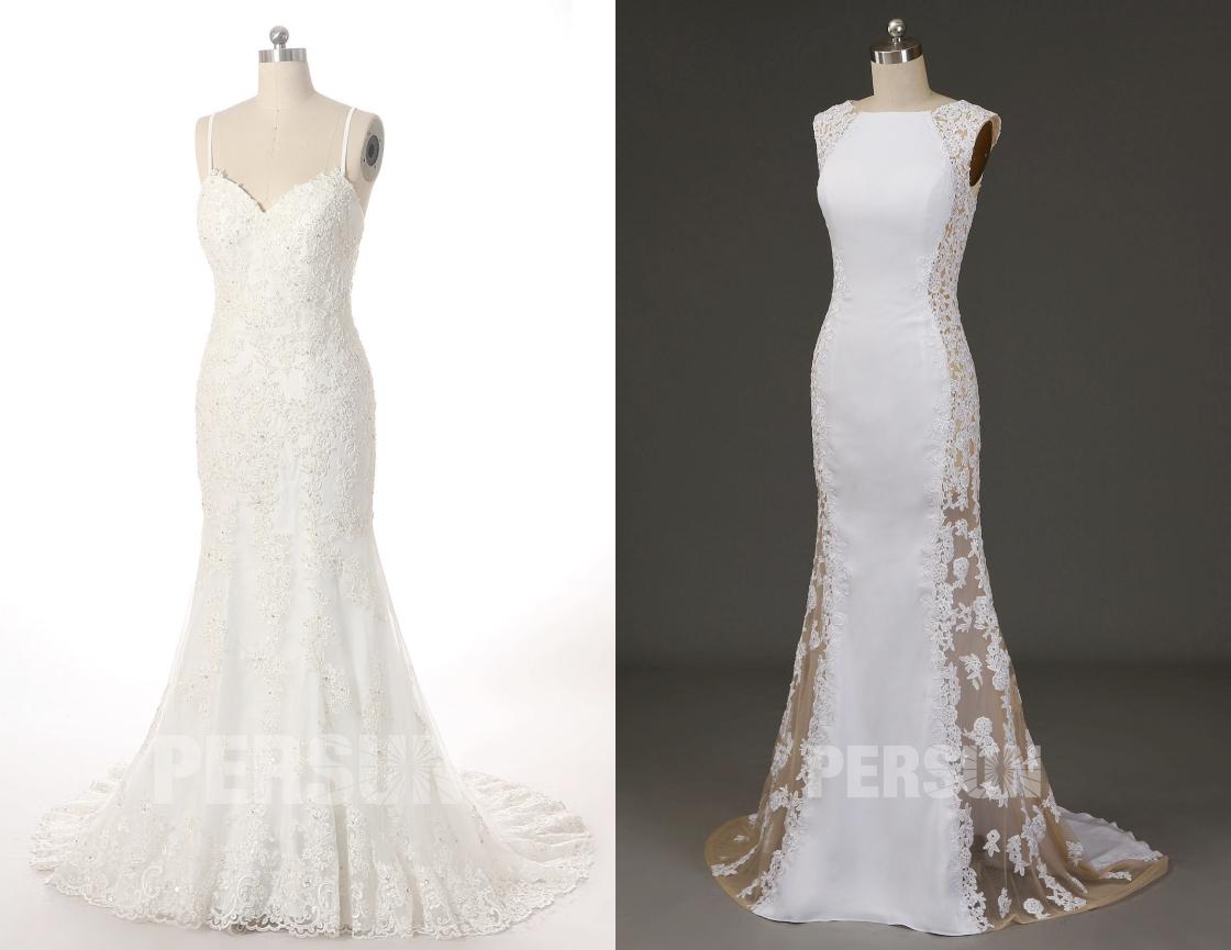 robe de mariée sirène sexy en dentelle appliquée avec petite traîne