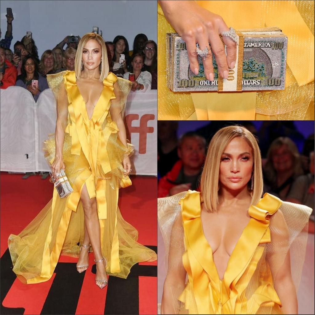 robe luxe dorée courte devant longue dernière  col v plongeant avec sac spécial
