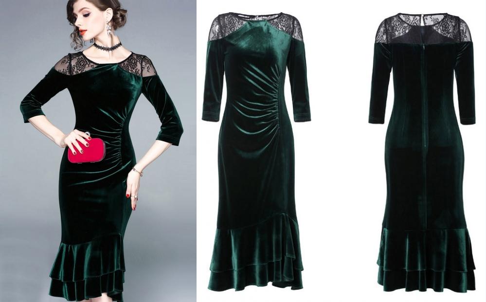 robe de soirée mi-longue sirène émeraude en velours embelli dentelle noire transparente et jupe à volant