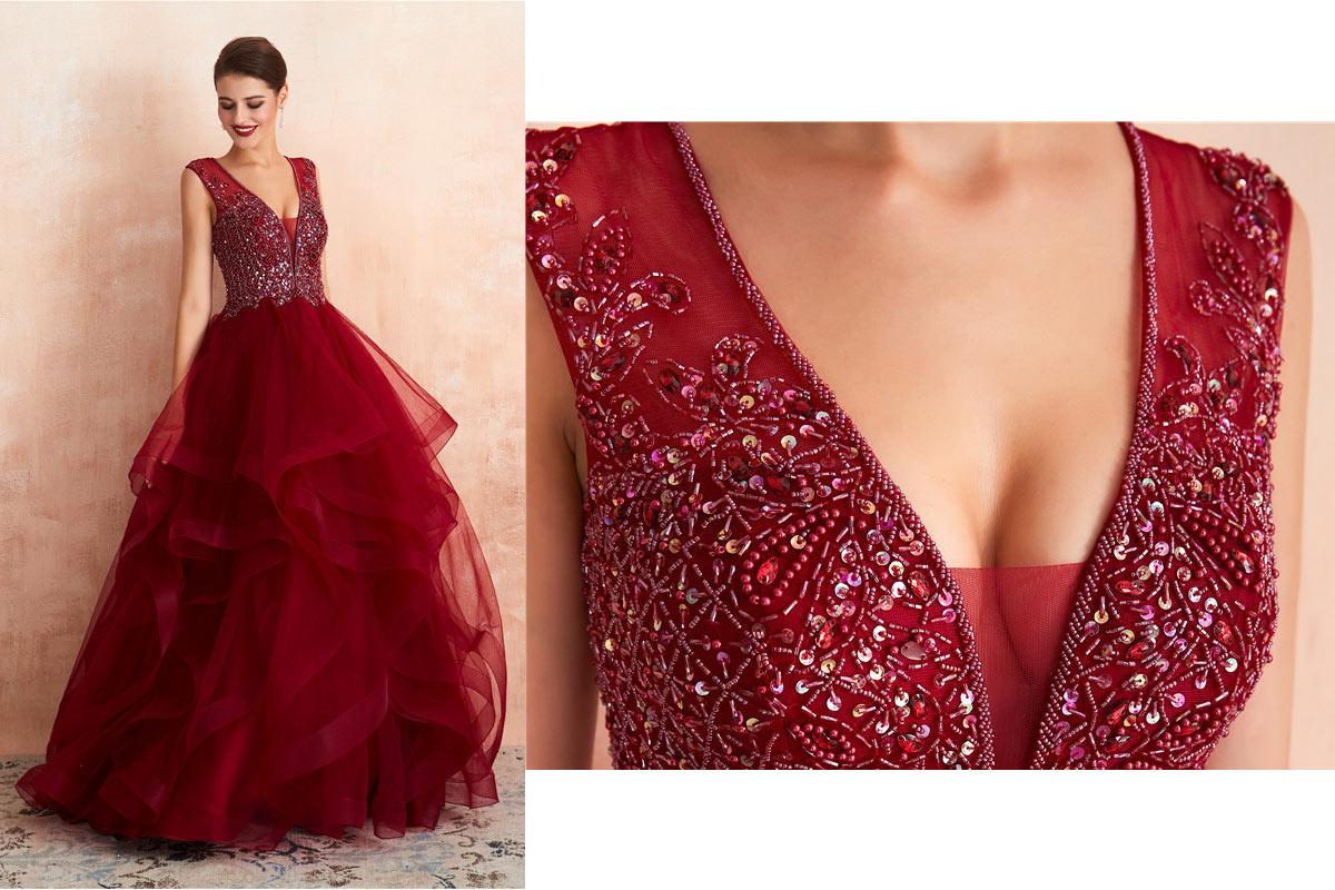 robe de mariée princesse bordeaux col v plongeant embelli de strass exquis jupe volant