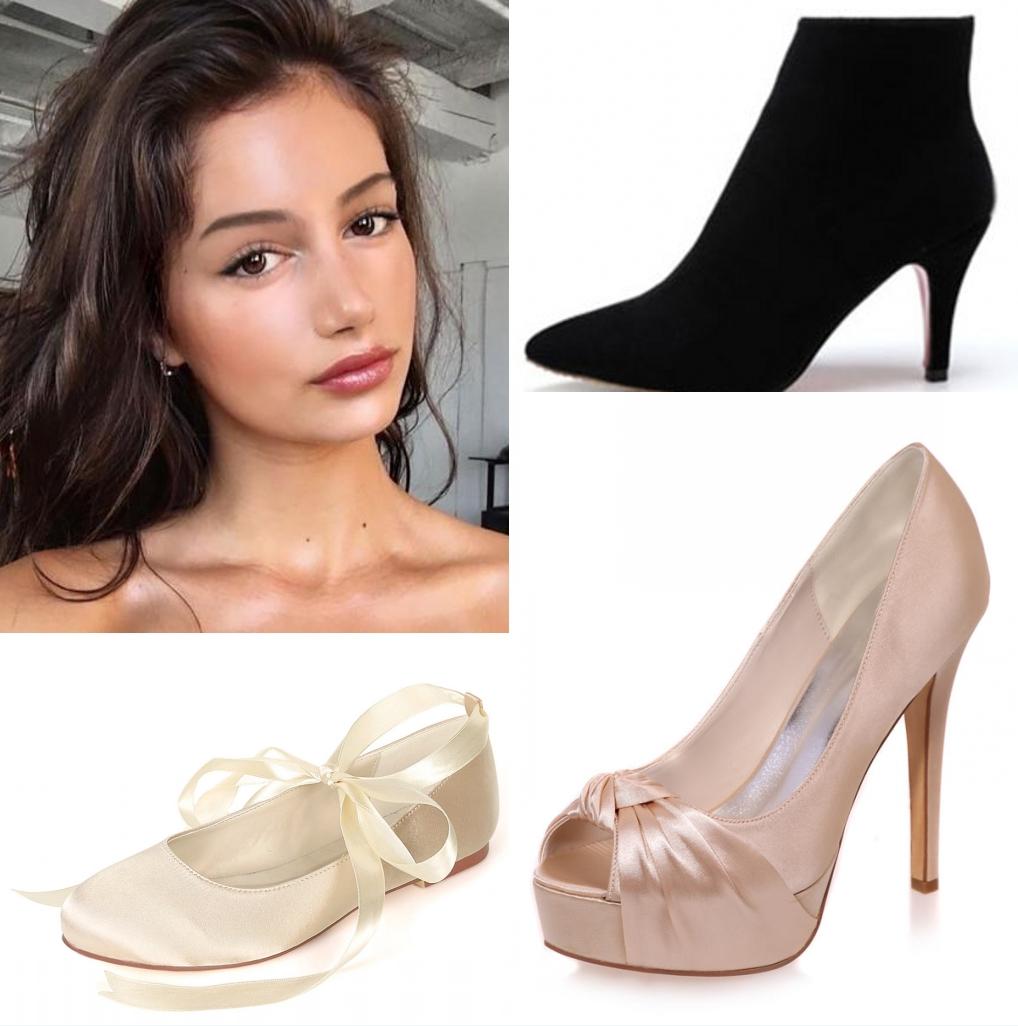 maquillage légère et chaussure pour robe de mariée