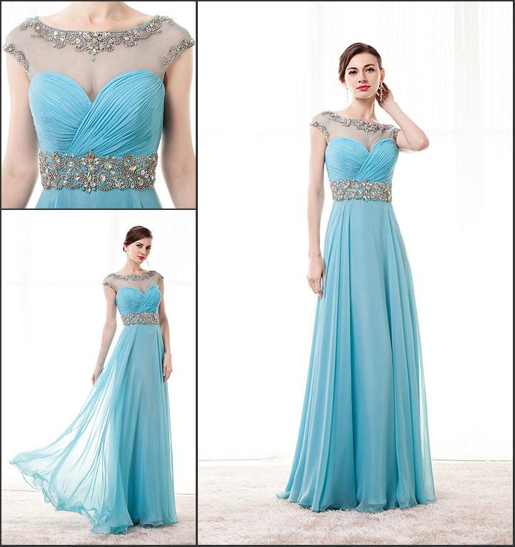 robe de soirée longue bleu turquoise embelli de bijoux bustier coeur drapé col illusion