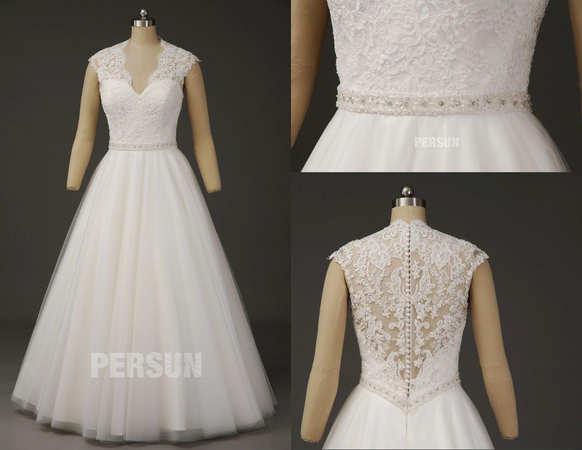 robe de mariée élégante encolure festonnée v ornée bijoux
