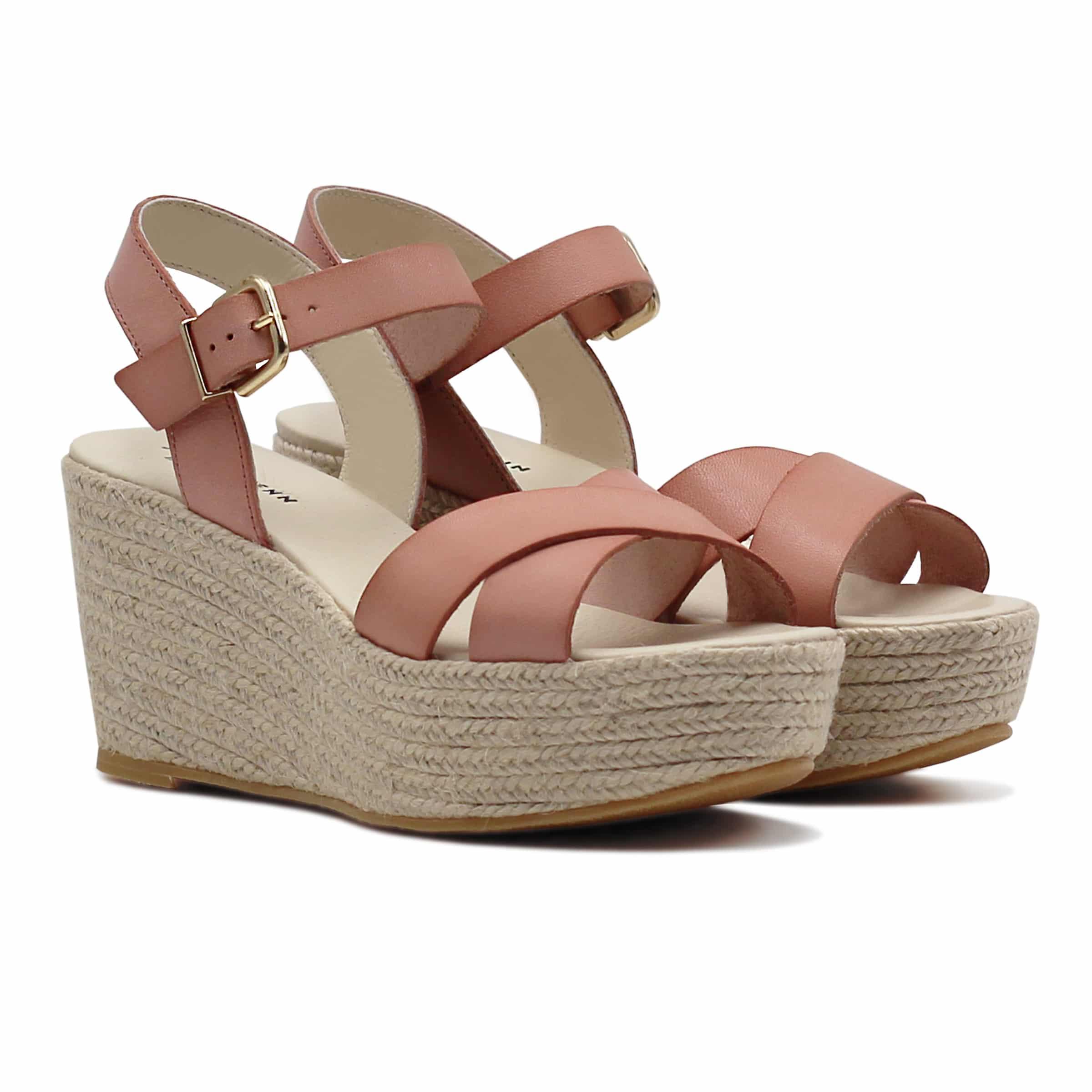 sandale semelle compensée vieux rose en cuir
