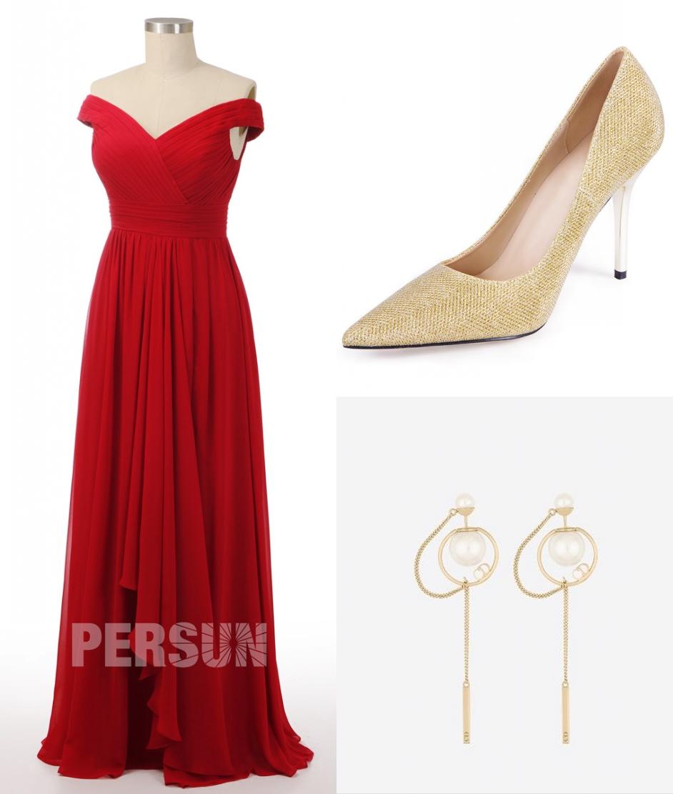 robe de soirée rouge longue col bardot bustier drapé