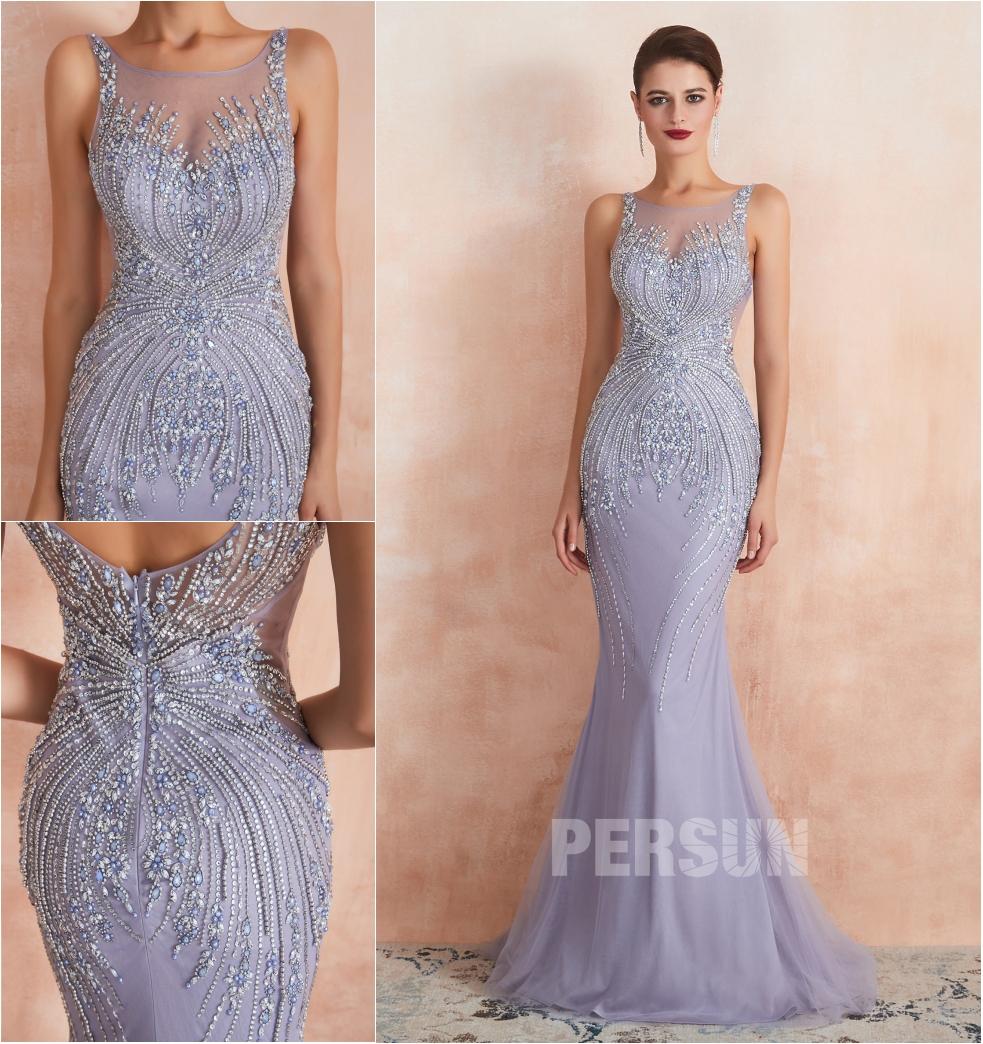 robe de soirée sirène longue lavande col illusion embelli de bijoux exquis