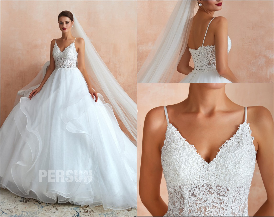 robe mariage princesse haut en dentelle avec bretelle jupe fantaisie