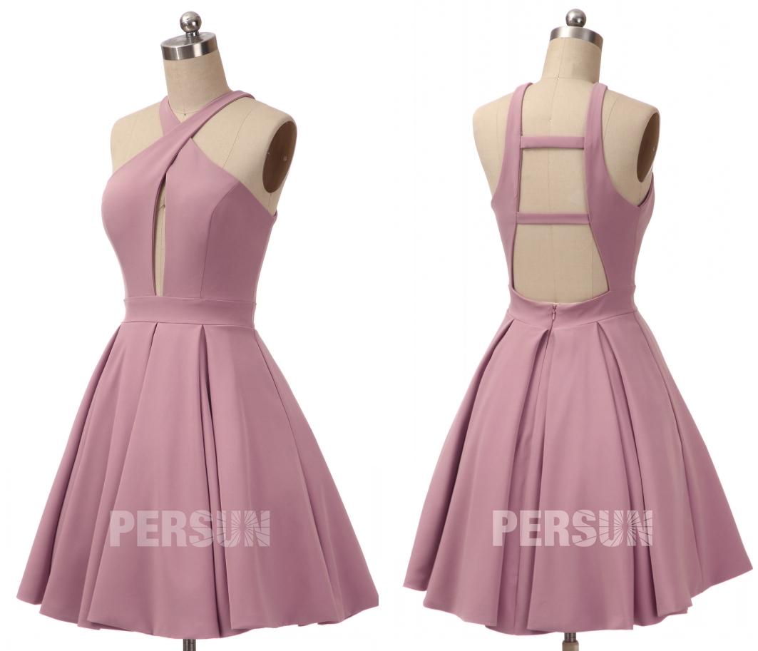robe de cocktail courte rose bretelle entrecroisée bustier et dos découpée