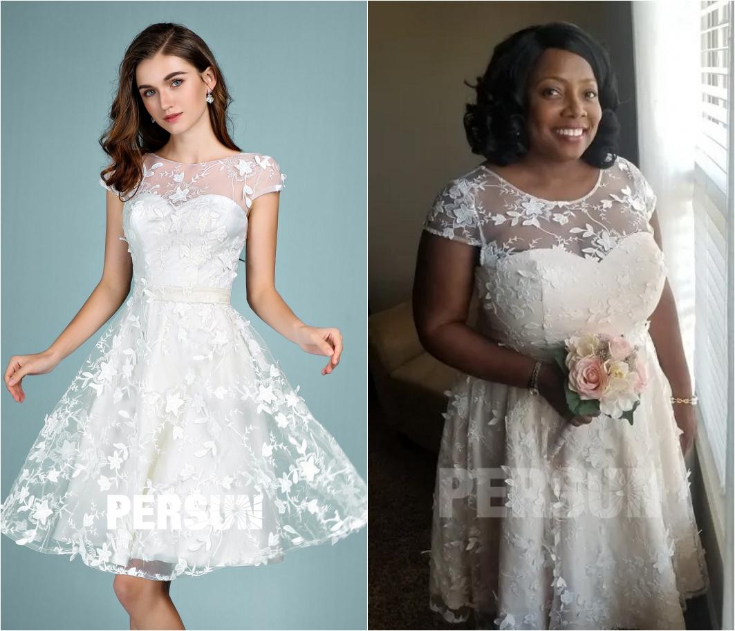robe de mariée courte avec manche courte en dentelle appliquée florale