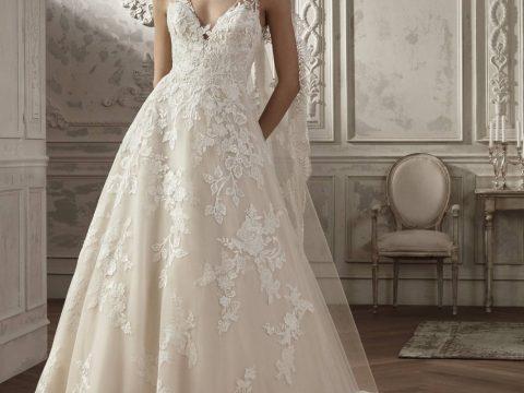 robe de mariée princesse col v en dentelle florale