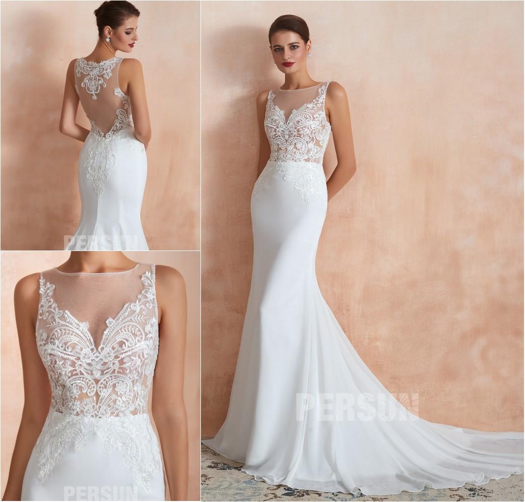 robe mariage 2020 sirène col illusion en dentelle à traîne chapelle