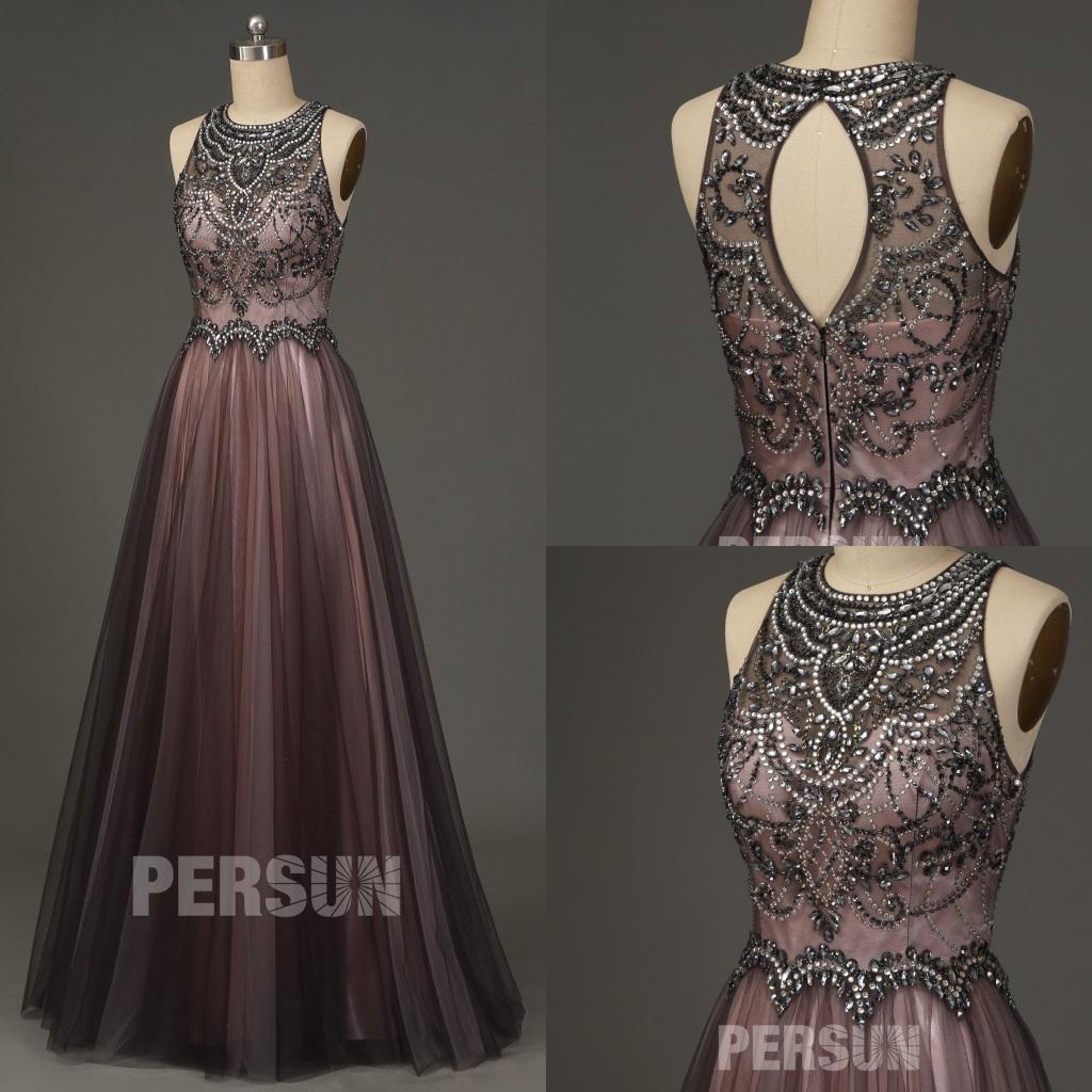 robe mariée rose grise dos découpé col illusion ornée de strass exquis