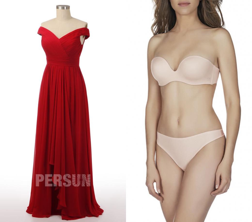 robe de soirée rouge longue col bardot bustier drapé jupe cascade