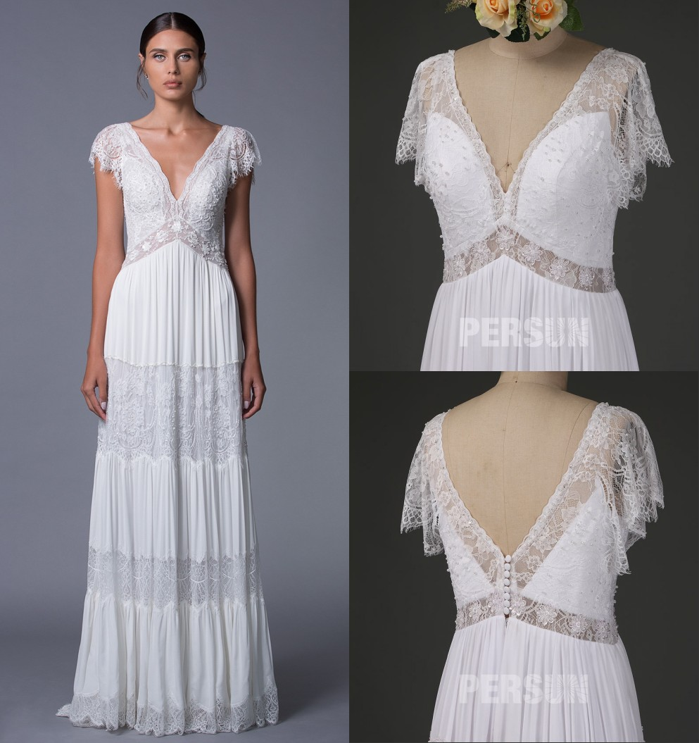 robe de mariée boho col v en dentelle avec manche courte festonné