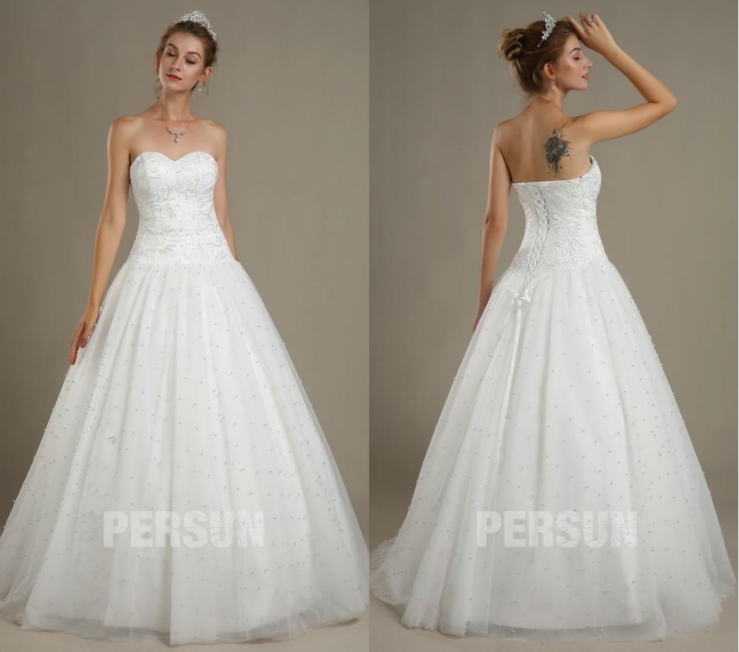 robe de mariée princesse classique princesse bustier coeur à motif jupe embelli de perles