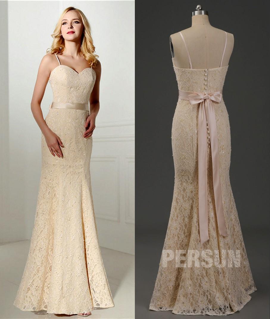 robe de mariée champagne sirène en dentelle à bretelle fine dos ornée de noeud papillon