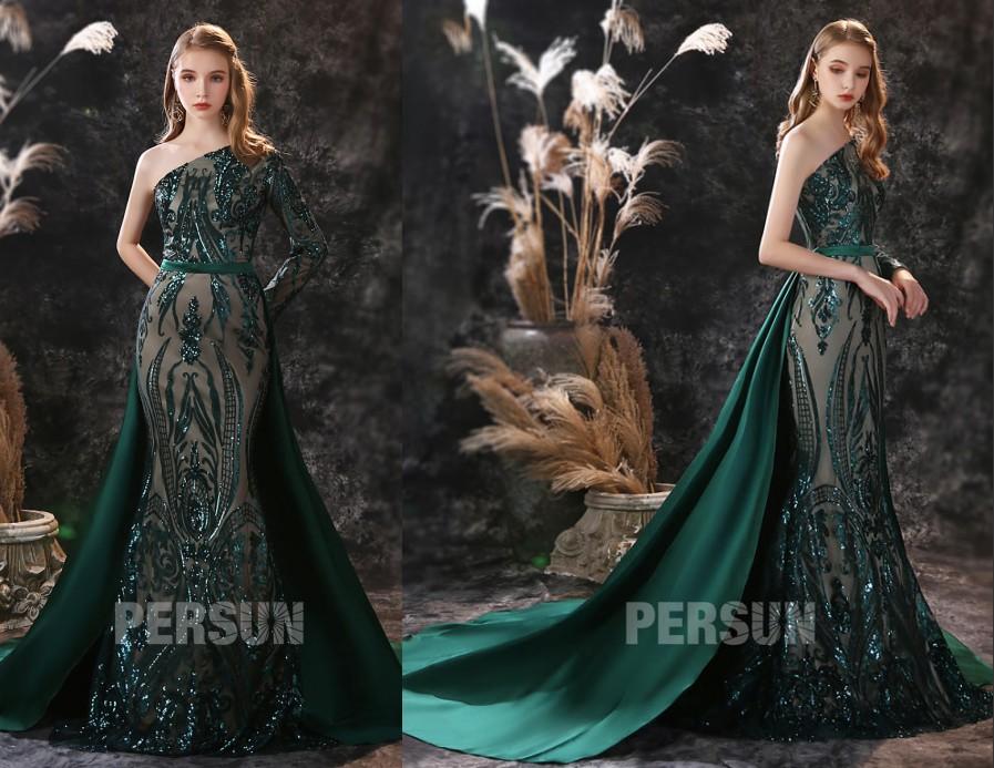 robe mariée sirène asymétrique vert foncé dentelle pailleté à manche traîne longue