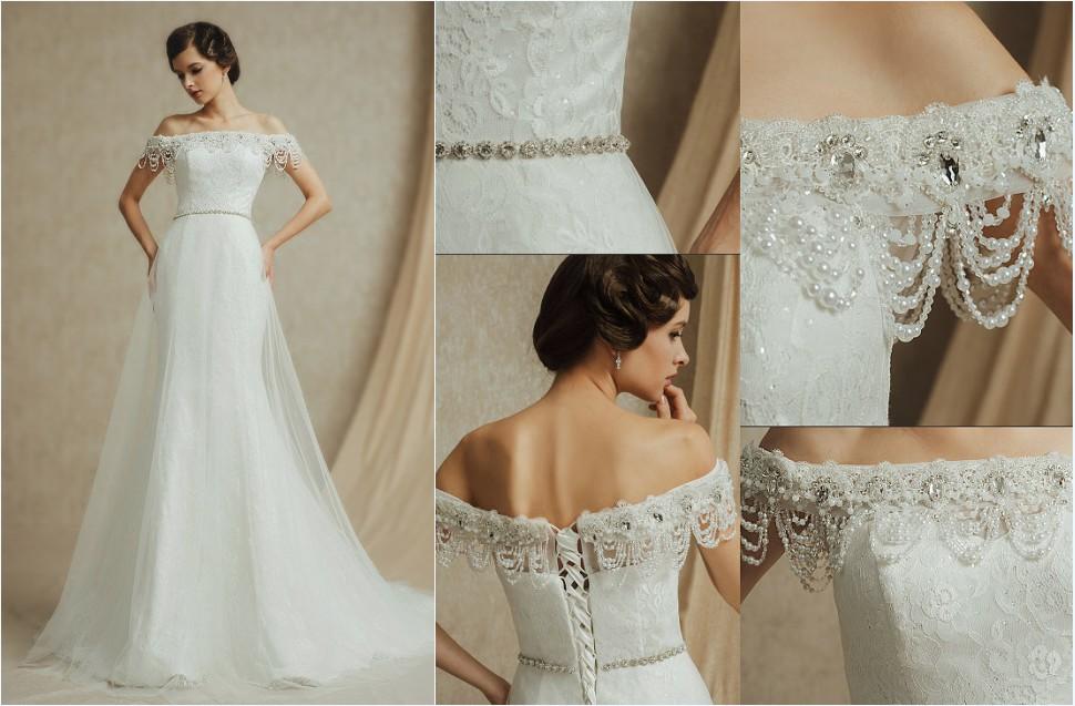 robe de mariée sirène en dentelle col bardot ornée perles