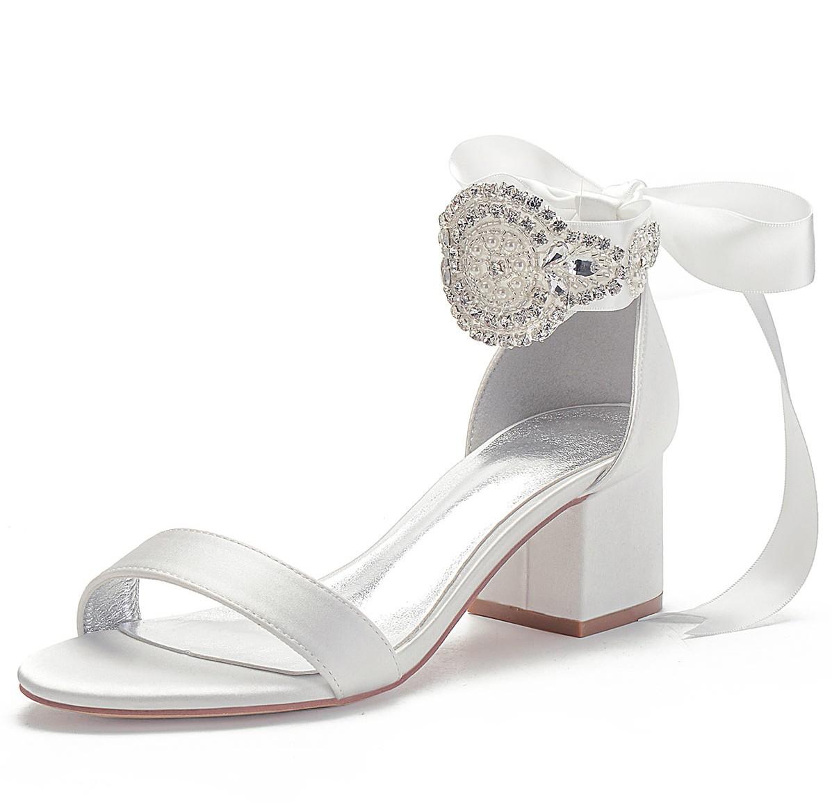 sandale de mariée blanc à bride embelli de strass et noeud papillon