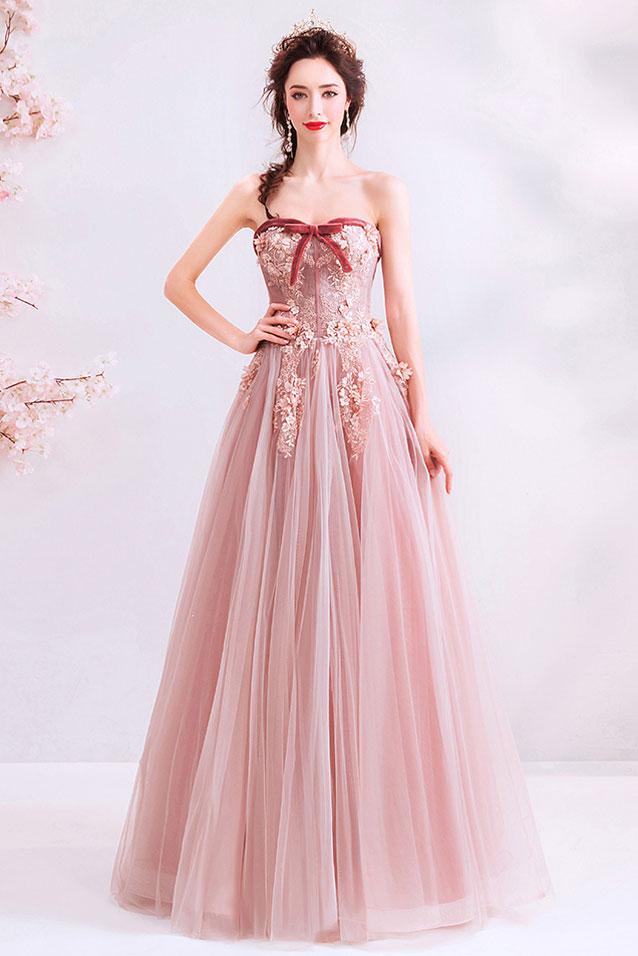 robe de soirée rose bustier coeur embelli de noeud papillon appliquée de fleurs 3D