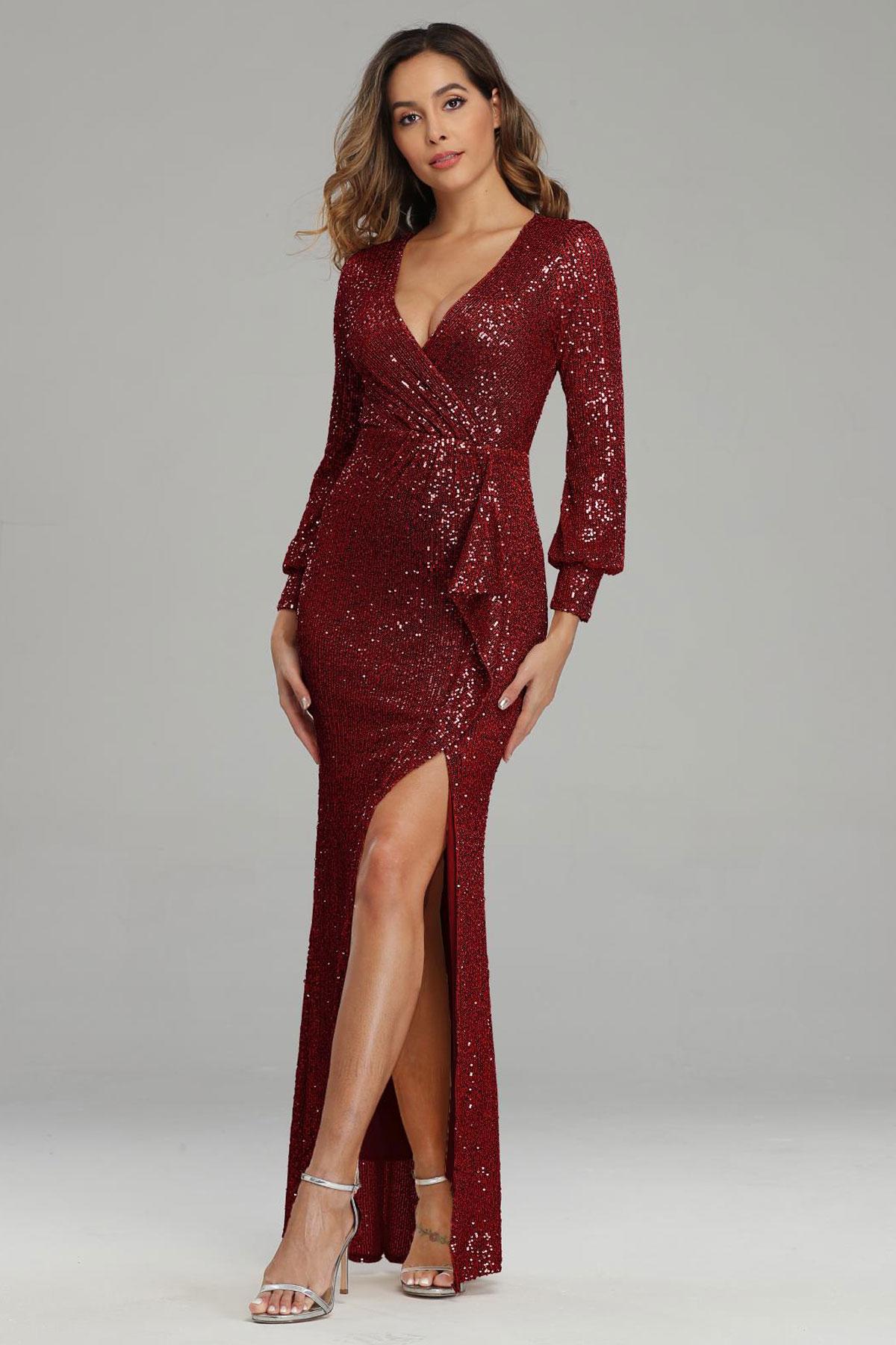 robe de soirée fourreau fendue rouge en paillettes cache coeur à manches